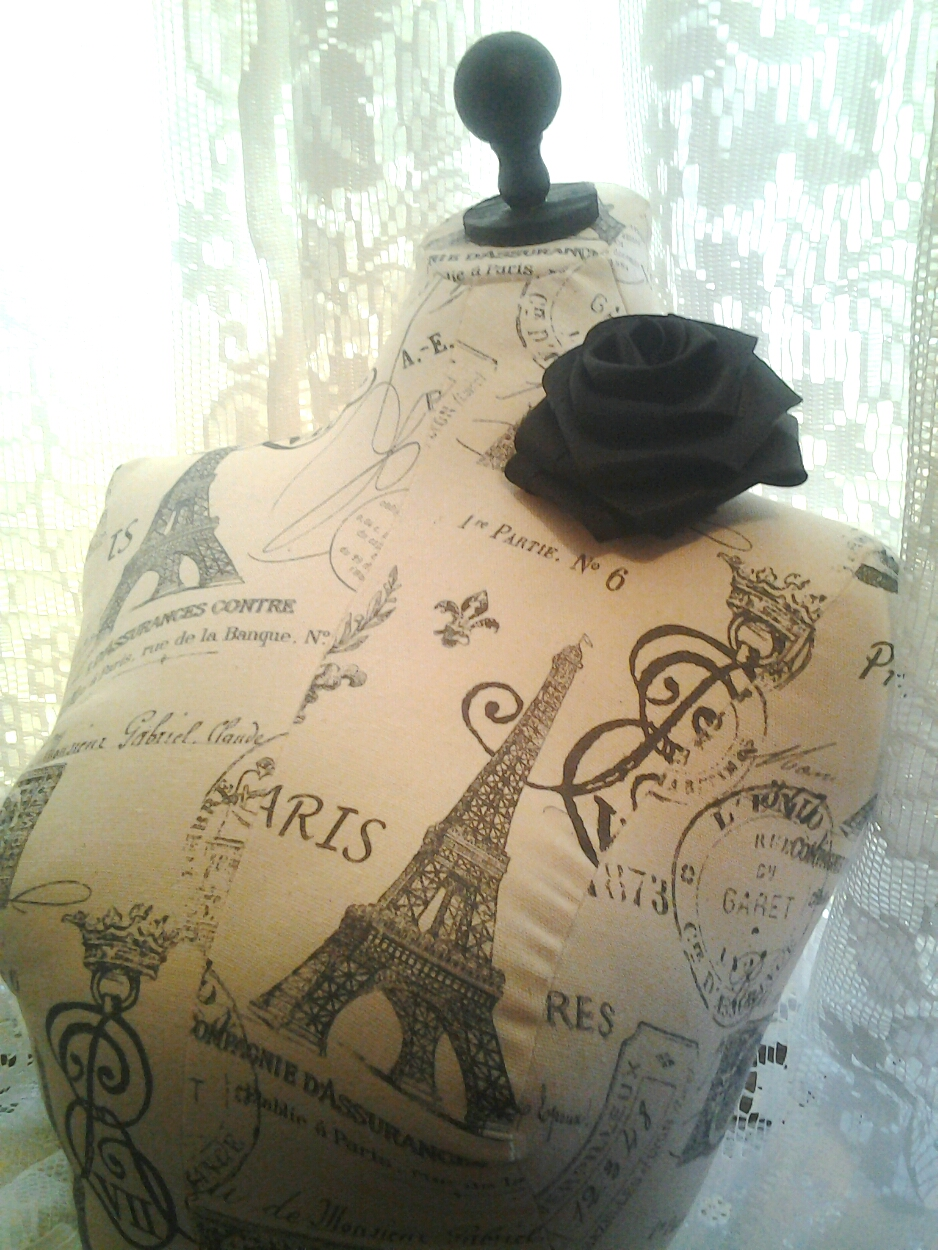 Cute Paris Linen Bust Form Jewelry Making Display Dress Form